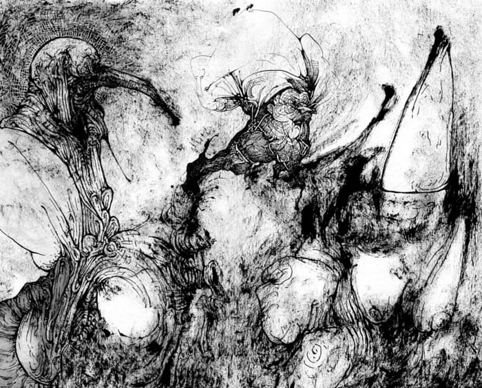 Pen, ink and dry brush black and white abstract work on paper