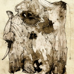 Ink blotches elephant illustration