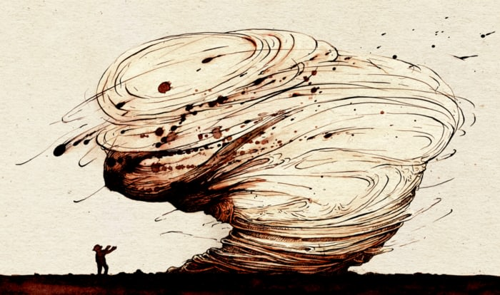 Pen and Ink illustration: Master of Tornadoes tale.