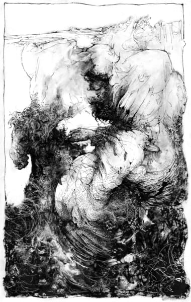 Black ink on white plastic artwork