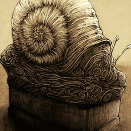 Monument of the Unknown Nomad - Snail pencil and ink cartoon