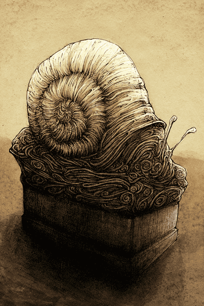 Snail pencil and ink cartoon